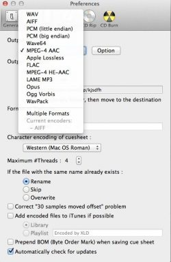 how to use xld convert to itunes aac mp3 formats