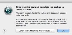 files can't be copied onto the backup disk because it appears to be read-only.