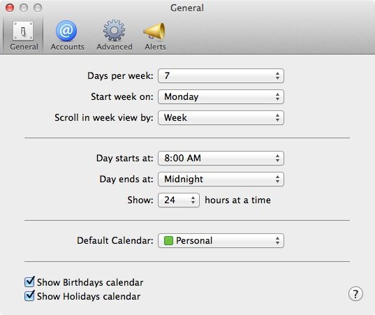 change day calendar starts on Mac